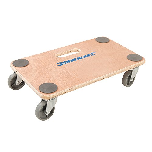 150KG Platform Dolly - 300mm x 500mm Heavy Box Moving Castor Wheel Safety Trolley - Warehouse/Storage Wood Base Plate - Moving Appliances & Large Awkward Objects