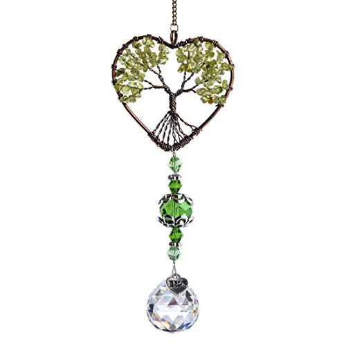 H&D HYALINE & DORA Tree of Life Car Rearview Mirror Hanging Ornament Pendant Accessories Fengshui Suncatcher (Green)
