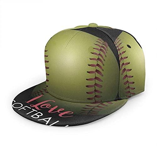 Oaieltj Gorra de béisbol unisex para mujer y hombre, ajustable, con visera plana, sombrero de hip hop, Me encanta el softball, Talla única