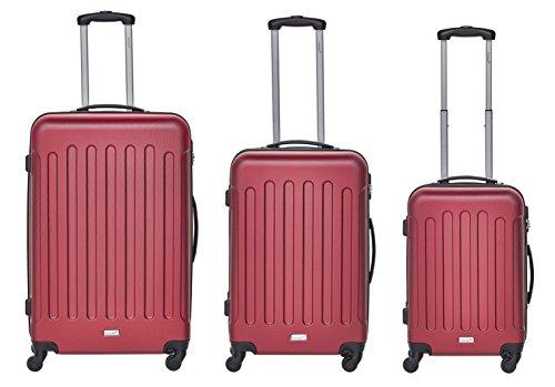 Packenger Kofferset - Travelstar - 3-teilig (M, L & XL), Rot, 4 Rollen, Koffer mit Zahlenschloss, Hartschalenkoffer (ABS) robuster Trolley Reisekoffer