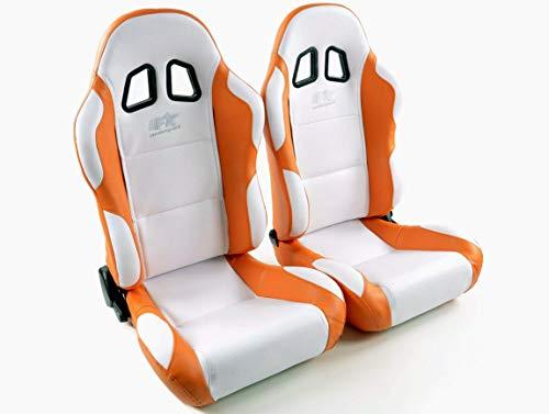 Juego de asientos ergonómicos Miami piel artificial blanco/naranja