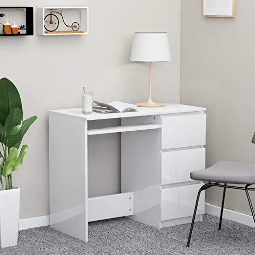 SHUJUNKAIN Escritorio de aglomerado Blanco Brillante 90x45x76 cm Mobiliario Mobiliario de Oficina Escritorios Blanco con Brillo