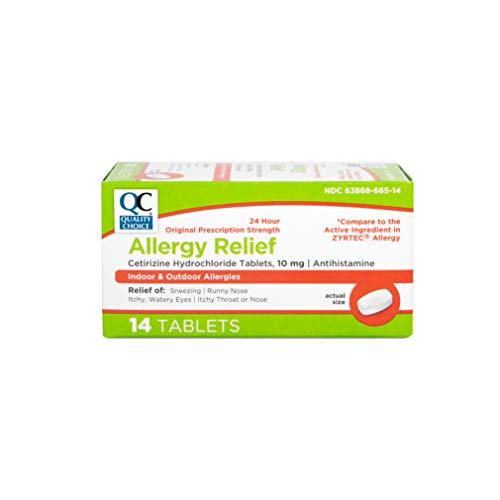 Quality Choice Allergy Relief Cetrizine Hydrochloride, 10 mg, Antihistamine, 14 Tablets