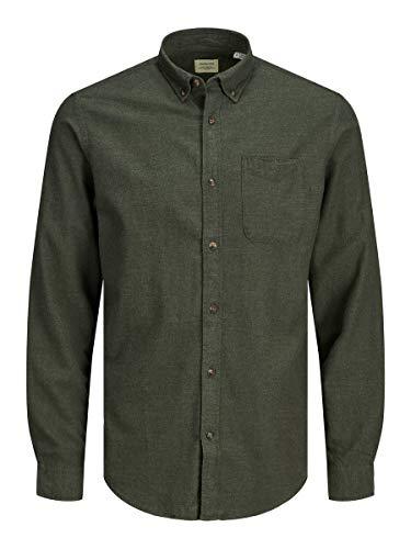 JACK & JONES Male Hemd Button-down Twillweb LForest Night