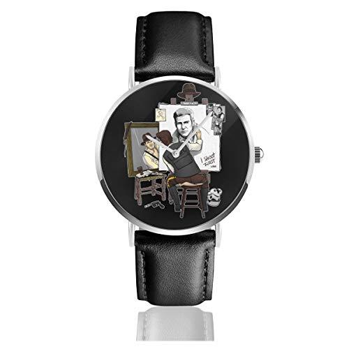 Unisex Business Casual Harrison Ford Triple Hero Uhren Quarz Leder Uhr mit schwarzem Lederband für Männer Frauen Junge Kollektion Geschenk
