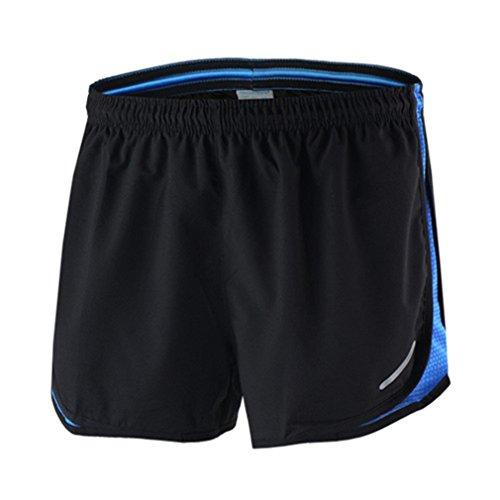 emansmoer Homme Loose Fit Confort été Pantalons Courts Respirante Outdoor Sport Cyclisme Course à Pied Jogging Short (XXX-Large, Noir-Bleu)