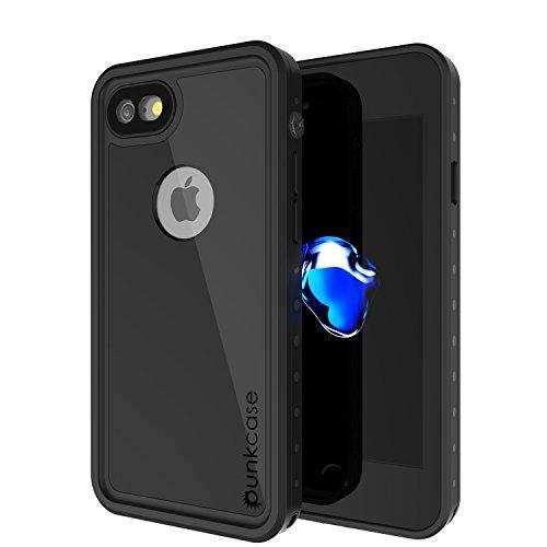 PunkCase iPhone 7 Impermeable Caso Studstar Serie Slim Fit Ip68 a Prueba de choques al Polvo Snowproof Armadura Cubrir para Apple iPhone 8 7 Negro