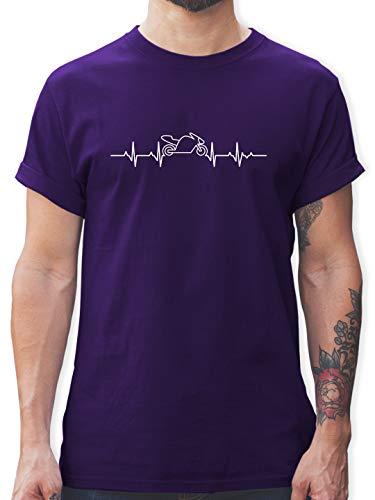 Motorräder - Herzschlag Motorrad - S - Lila - Tshirts Herren motorräder - L190 - Tshirt Herren und Männer T-Shirts