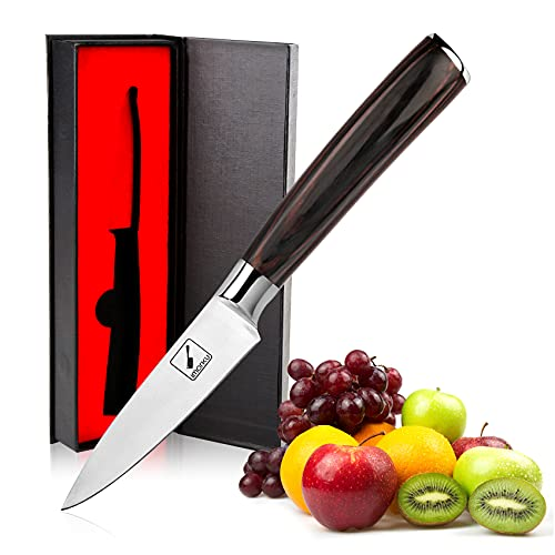 Paring Knife - imarku Professional 3.5 Inch Peeling Knife - 7Cr17Mov German High Carbon Stainless Steel Small Fruit Knife with Ergonomic Pakkawood Handle, Ultra Sharp