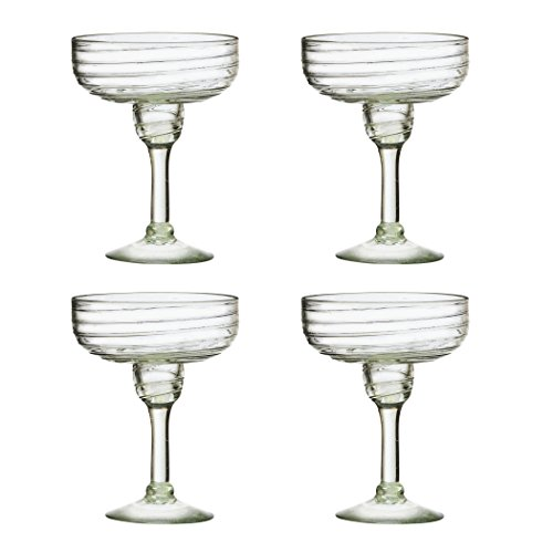 Amici Home Clara Clear 15 oz Mexican Glass Drinkware, Set of 4 Margarita Glasses