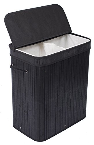 BIRDROCK HOME Double Laundry Hamper with Lid and Cloth Liner - Bamboo...