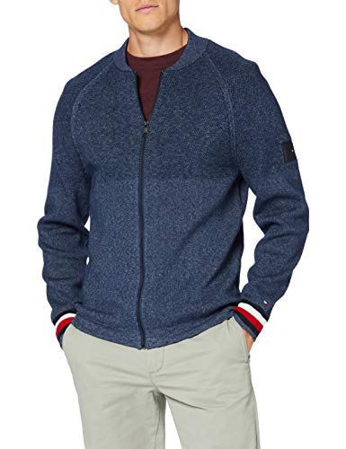 Tommy Hilfiger Herren Branded Baseball Zip Through Pullover, Blue, L