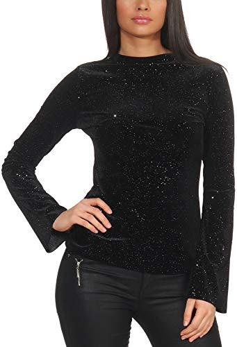 StyleLightOne Damen Dünner Glitzer-Pullover Sweatshirt Langarm Shirt Schlag-Ärmel Stretch Clubwear Party, Schwarz S