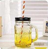ZJN-JN カップ 高級 耐熱 おしゃれ セラミックカップの色ガラスカップでは金属製の蓋クラシックストロー美容コーヒーカップで水のボトルを単離しました 贈り物