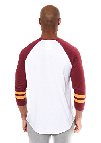 Ultra Game Men's NFL Raglan Baseball 3/4 Long Sleeve Tee Shirt, Washington Redskins, White, Small