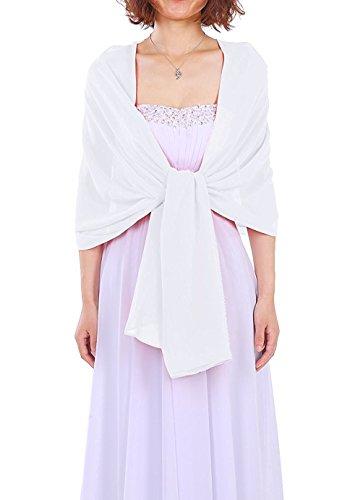 Dressystar Chiffon Stola Schal für Kleider in verschiedenen Farben Weiß 160cm*50cm