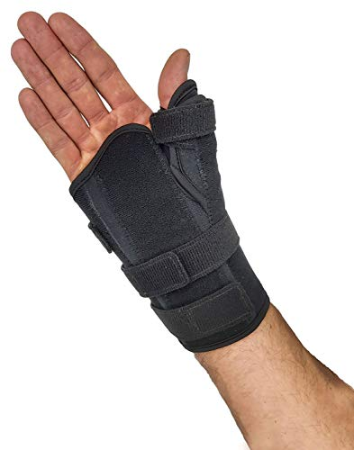 Thumb Spica Splint & Wrist Brace – Short Wrist Splint & Thumb Splint to Support Thumb Injuries, Tendinosis, Thumb Stabilizer for Fractures or Trigger Thumb. Hand Brace for Carpal Tunnel (Lar Right)
