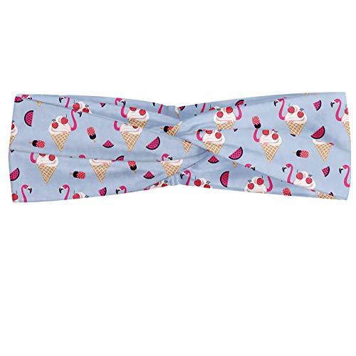 ABAKUHAUS Sommer Halstuch Bandana Kopftuch, Abstraktes Design mit fröhlicher und Flamingo Topping Eis und Wassermelone-Scheiben, Elastisch und Angenehme alltags accessories, Mehrfarbig