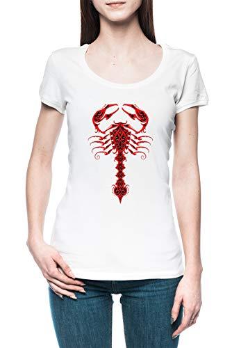 Rojo y Negro Tribal Escorpión - Escorpión Mujer Camiseta tee Blanco Women