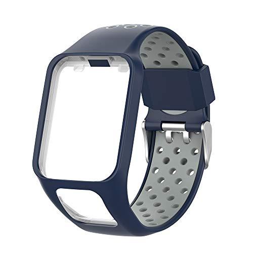 KINOEHOO Ersatzarmband kompatibel mit Tomtom Runner 2/3 Cardio/Music Spark Cardio/Music Spark 3 Edelstahl Armband Weiche Silikon Uhrenarmbänder.