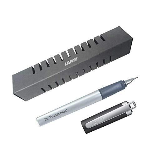 Lamy Füllfederhalter nexx M, Modell 88, Farbe anthrazit, Feder LH, inkl. Laser-Gravur, für Linkshänder