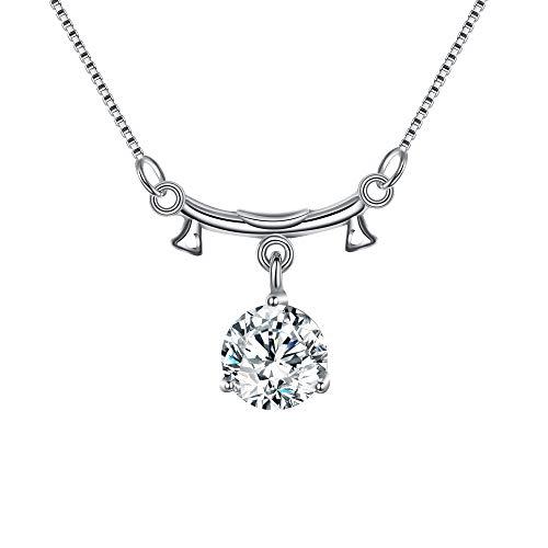 EVER FAITH Collar Colgante Mujer 925 Plata de Ley CZ Horóscopo Zodiaco 12 Constelación Libra Regalo para Cumpleaños