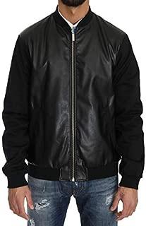 Black Cotton Stretch Bomber Zipper Jacket
