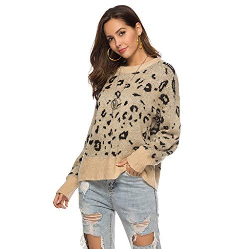 KPILP Damen Herbst Winter Pullover Sweatshirts Teddy-Fleece Langarm Mode Leopard Drucken Fleecejacke Warm Outwear mit Rundhals Kragen Oberteil