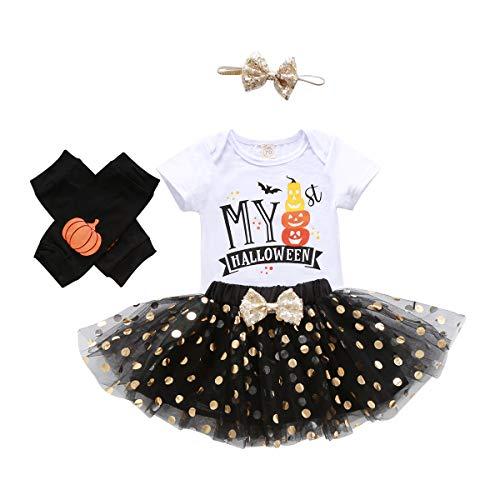 Disfraz Halloween Bebé Recién Nacida 4 Piezas Conjunto para Niñas Pequeñas Mameluco de Manga Corta + Falda de Tul con Lentejuelas + Diadema de Bowknot + Calentador de Pierna (Blanco, 0-6 Meses)