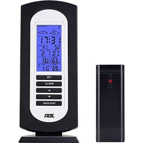 ADE Digitale Wetterstation WS1822 Anzeige von Temperatur, Luftfeuchtigkeit, Wettervorhersage, Uhrzeit, Kalender, mit LCD-Display) schwarz