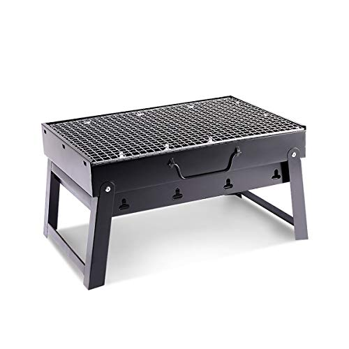 Charcoal Grill BBQ Barbecue Folding Portable BBQ Tool Kits for Camping, Outdoor Cooking Hiking Picnics Party Black (Small)