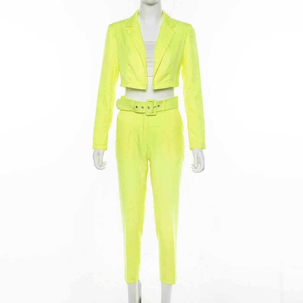 Women Fashion Casual 2 Piece Set Elegant Neon Color Long Sleeves Short Formal Blazer Jacket Pencil Pant Suit with Belt
