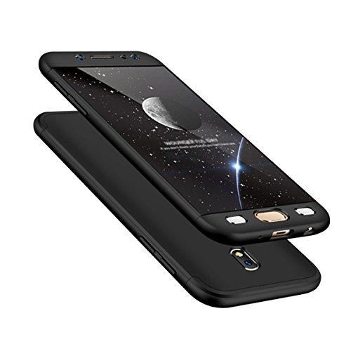 Funda para Samsung Galaxy J7 2017 de 360 grados + protector de pantalla de cristal templado Full Body ultra fina antideslizante para Samsung Galaxy J7 (2017) J730 (negro)