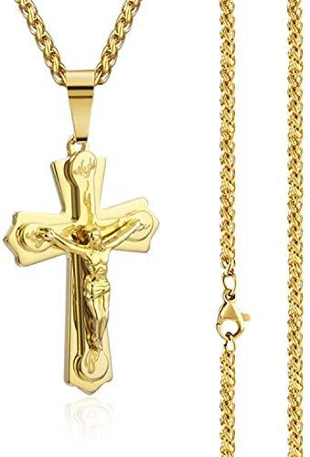 Collar con colgante de cruz de Cristo, collar de acero inoxidable resistente para hombre, cadenas de eslabones de crucifijo, joyería religiosa, regalo de declaración de cuerpo de metal