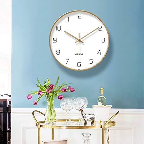 WANGXINQUAN Reloj de pared dorado de metal para sala de estar, dormitorio, comedor, se puede colgar