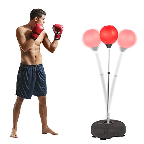 Vilobos Reflex Bag Freestanding with Boxing Gloves Height Adjustable Speed Punching Bag with Stand for Adult and Kids Red