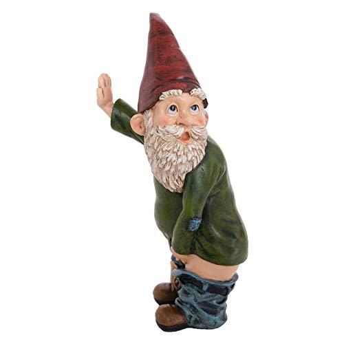 Azruma Garden Gnome Statue,Peeing Gnome Naughty Garden Gnomes for Lawn Ornaments Indoor or Outdoor Garden Decorations Funny Gnome Polyresin Statue Measures (Green)