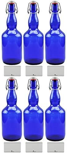 mikken 6 botellas de cristal azul de 0,75 litros con cierre de clip de porcelana, incluye etiquetas de mensaje