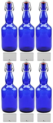 mikken 6X Blaue Glasflasche 0,75 Liter mit Bügelverschluss aus Porzellan, inkl Beschirftungsetiketten