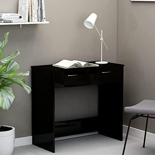 Escritorio de computadora, Escritorio para Juegos Escritorio de Trabajo PC Escritorio de Mesa para computadora portátil Escritorio de Alto Brillo Negro 80x40x75 cm Aglomerado