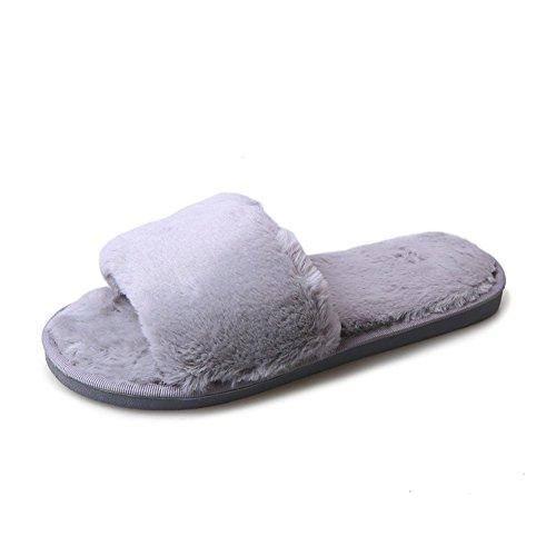 Hausschuhe Damen Plüsch Pantoffeln Rutschfester Warm Mädchen Hausschuh Hause Schuhe Pantoletten Weiche Sohle Bequem Flip Flop Sandalen Grau