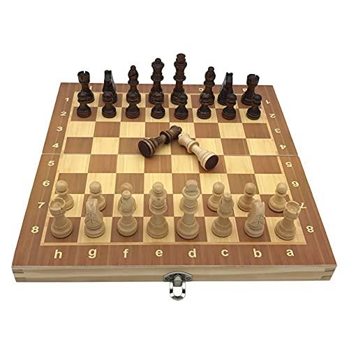Flystoo Juego de ajedrez Conjunto de ajedrez de Madera Juegos de Mesa de ajedrez magnética Plegable Juego de Tablero Plegable Juegos de ajedrez de Madera ajustes Plegables (Color : Length 34cm)