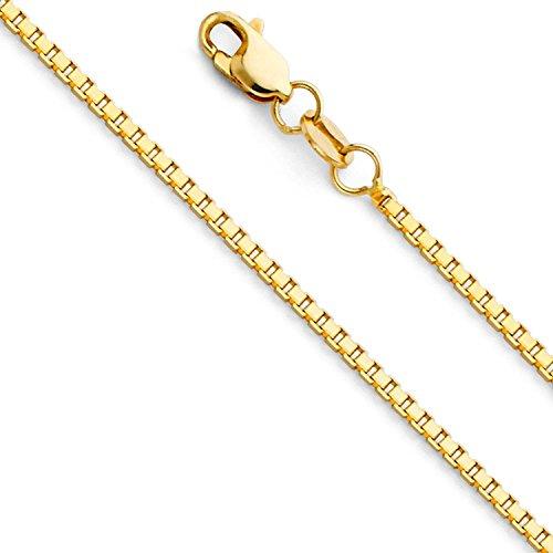 Massive 14 Karat 585 Gold Venezianer Box Kette Unisex Gelbgold -1.20 mm Breit - Verschiedene Längen (55)