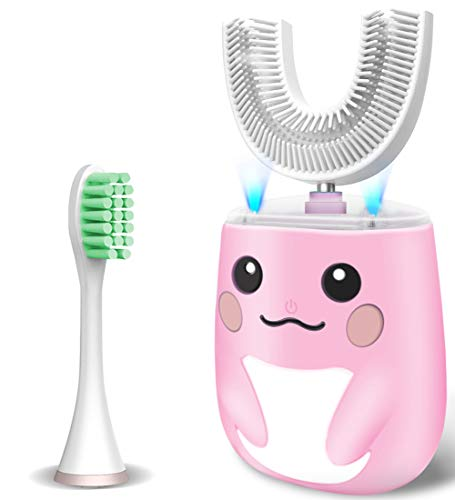 Kids Toothbrush Electric, U Shaped Ultrasonic Autobrush Toothbrush with 2 Brush Heads, Six Cleaning Modes, Cartoon Modeling Design for Kids, Special for Xmas Birthday Gift (2-7 Years Old) (Pink)