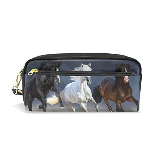 ISAOA Estuche de gran capacidad con cierre de papelería, tres caballos Run lápiz bolsa bolsa cosmética bolsa de maquillaje regalo de Navidad para niñas y niños