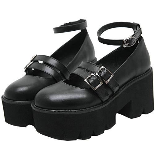 AIMODOR Damen Gothic Mary Janes Plateau Pumps Riemchen Blockabsatz High Heels Lolita Schuhe schwarz 39