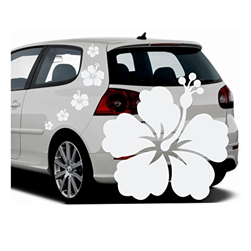 Folistick Hibiskus Hawaii Blumen Aufkleber Set Hibiskusblüten Autoaufkleber 5-teilig (Weiss)