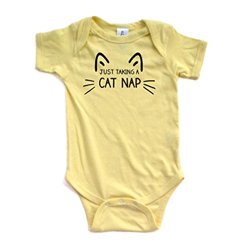 Apericots Just Taking a Cat Nap Short Sleeve Infant Bodysuit Yellow