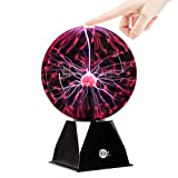 Brewish Plasma Ball 8 inch Touch Sensitive & Sound Interactive Plasma Lamp Light Glass Globe - for Kids,Home,Gift, Decorations - Adaptor Powered