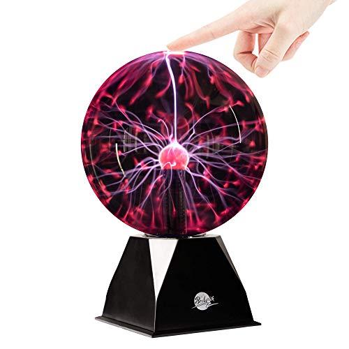 Brewish Plasma Ball 8 inch Touch Sensitive & Sound Interactive Plasma Lamp Light Glass Globe - for Kids,Home,Gift, Decorations - Adaptor Powered